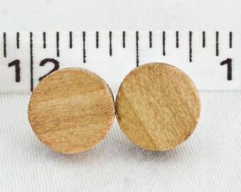Poplar Wood Stud Earrings or Fake Plugs