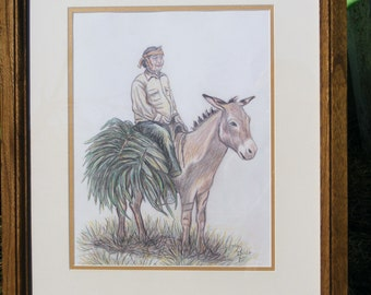 OldMexicanandDonkey,Pencil drawing, Old man and his Donkey,Donkey carrying a crop,Drawing,Mexican on Donkey, Mexican worker, Crop worker