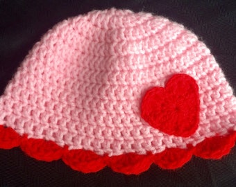 Handmade Crochet Strawberry Shortcake hat with Heart