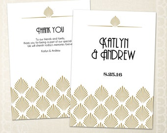 Art Deco Wedding Program Template - Instant DOWNLOAD - 5x7 Foldover, EDITABLE Text - Shell, PDF