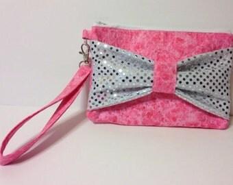 Sequins bow clutch/wristlet