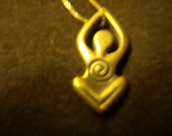 Vintage Silver Goddess Pendant on Silver Chain