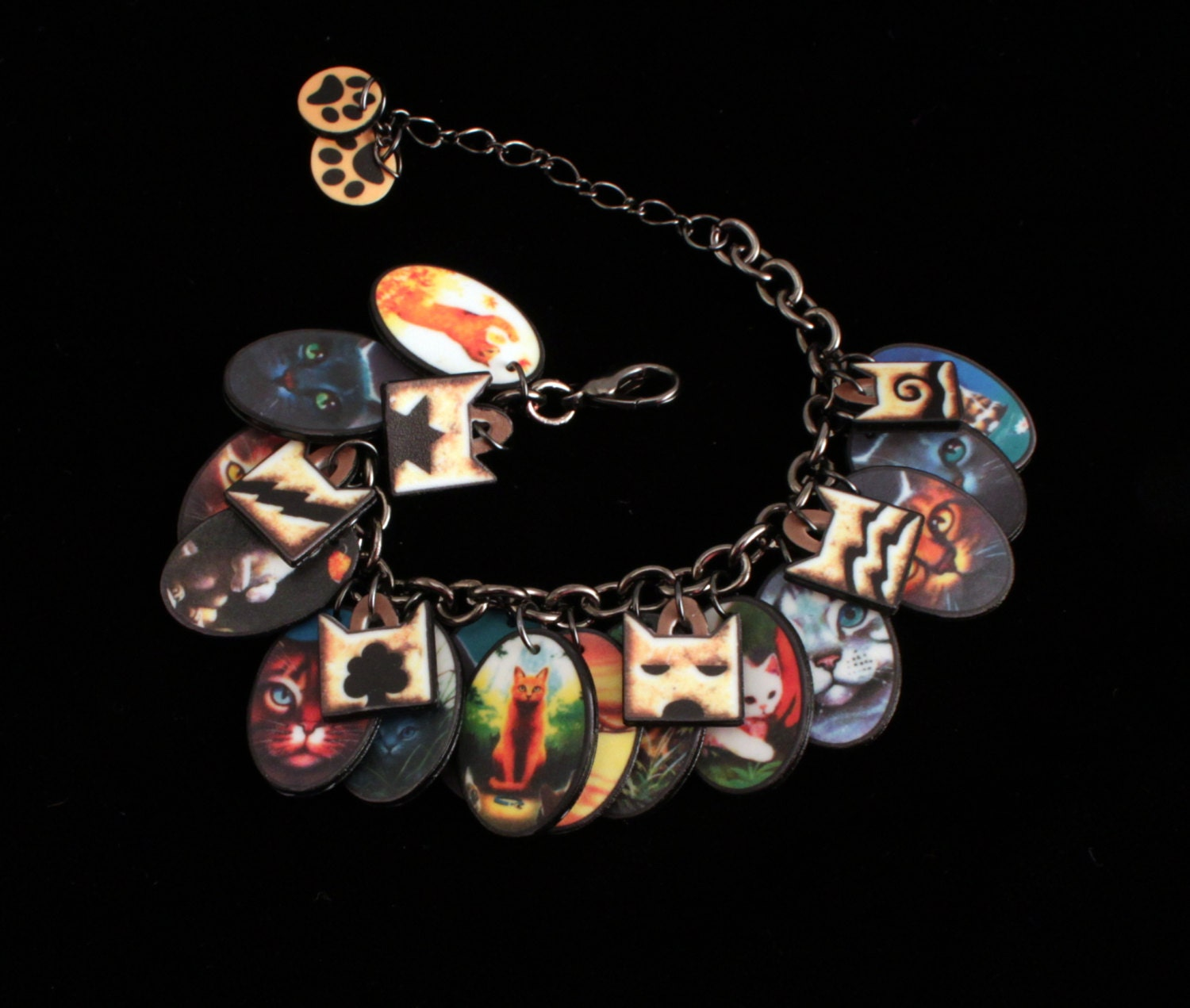 Warriors Book Series Review: Warrior Cats Charm Bracelet On Hematite Traditional Link Chain