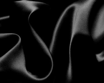 """Pure Silk Charmeuse Crepe Backed Satin in BLACK fabric 138 cm (54"""") wide  19 mm 138 cm wide"""