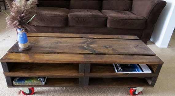 rustic wood pallet rolling coffee table by blackironworks. Black Bedroom Furniture Sets. Home Design Ideas