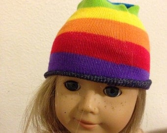 Rainbow striped stocking cap/hat fits American Girl Dolls