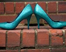 Bridesmaids shoes Blue shoes Wedding shoes Blue high heels pumps Blue party shoes prom shoes Blue Wedding shoes Wedding shoes blue SIZE 9.5