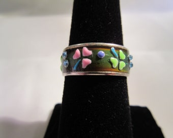 Vintage Sterling Silver Ceramic Ring