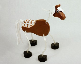 Horse Marionette - Wooden Farm Animal Puppet