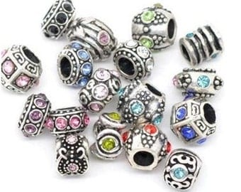 100Pcs Mixed European Rhinestone Beads Fit Charm Beads DIY Beads10x6mm-11x11mm
