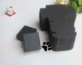 6*6.6*2.5CM Black cardboard paper boxes Jewel box Handmade soap gift packaging boxes 100 pieces