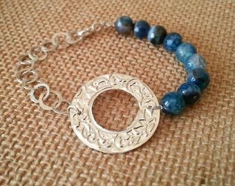 silver beads chain bracelet natural Agatha