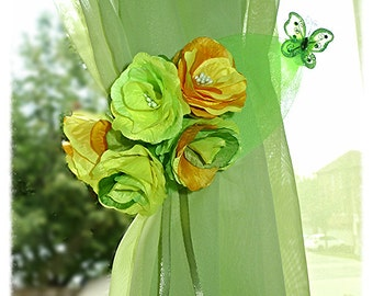 "CLEARANCE Green curtain tie backs. ""Spring mood"""