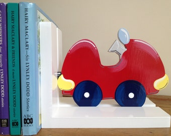 Car Bookends - Childrens Bookends, Bookends, Boys Bookends, Transport, Nursery Bookends, Bookends for Boys, Red Car Bookends, Book Shelf