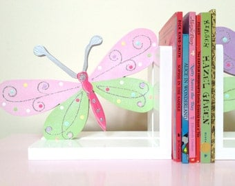Butterfly Bookends - Children's Bookends, Bookends, Girls Bookends, Wooden Bookends, Nursery Decor, Painted Bookends,  Nursery Bookends