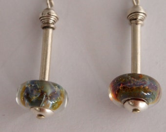 Dangle and Drop Sterling Silver Earrings with Lampwork Crystal Beads