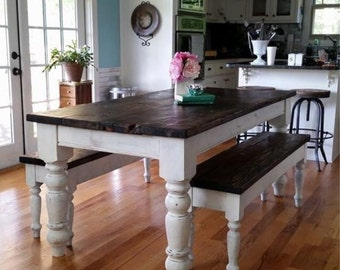 Antique heart pine Rustic distressed 6.5 foot farmhouse table with benches