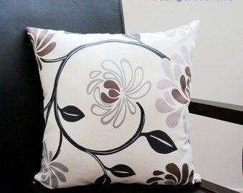 Gray Brown floral pillow cover, floral throw Pillow Covers, beige decorative throw pillows decorative pillow floral cushion case for sofa