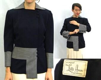 Lilli Ann 40s Navy Gabardine Wool Jacket   Asymmetrical  Striped Blazer    Medium