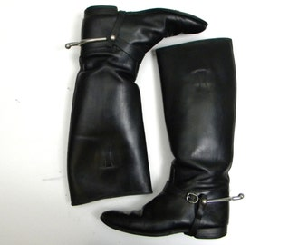 80s Size 8 Black Leather Riding Boots  | Flat Boots with Removable Spurs