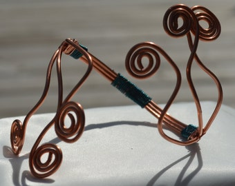 Adjustable Swirl Copper Bracelet with Turqouise Copper