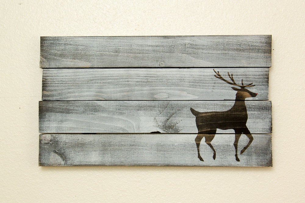 Red Wooden Wall Decor : Christmas wall decor red nosed reindeer wooden by homefrosting