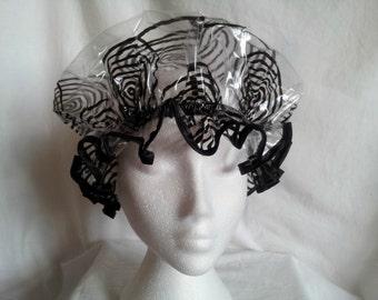 Black Swirl  Shower Caps