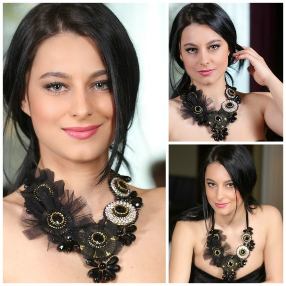 Black onyx,crystal statement necklace,beadwork