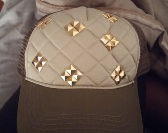Pyramid Stud Quilted Trucker Hat