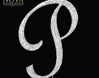 "Small Crystal Rhinestone Silver Letter ""P"" Monogram Wedding Anniversary Cake Topper"