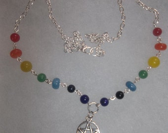 Chakra pentacle necklace