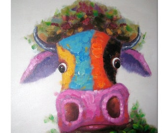 Hiding Cow Oil Painting on Canvas, Handpainted Colorful Abstract Cow Wall Art