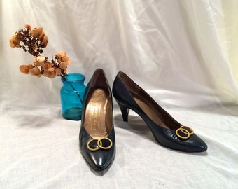Vintage Bruno Magli Heels / Black Leather Pumps with Gold Ring Accents / Women's Size 8