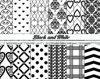 Black and White Monochrome 12 Digital Patterns Paper Pack Instant Download 300dpi JPEG 12 x 12 inches