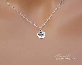 Dove necklace - Sterling silver flying bird necklace, circle charm necklace, eagle necklace, Christmas gift ideas for her mom sister wife