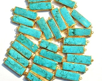 20Pcs 24K Gold Electroplated Edge Howlite Turquoise Rectangle Bar Connector 35-42mm Gold Layered Double Loop Pendant