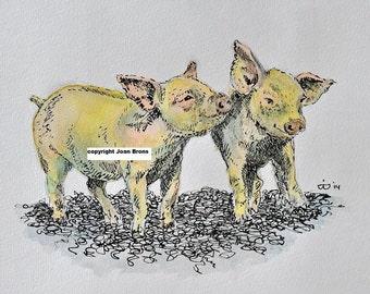 Print pendrawing piglets