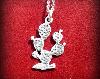 Small Sterling Silver Prickly Pear Cactus Pendent