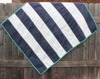Rugby Stripe Quilt Baby Blanket -Customizable