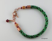 Kumihimo Bracelet, Green Beaded with Bethlehem Olive Wood Beads, Handmade, Red Czech Glass Beads, Swarovski Crystal, Copper Color Toggle