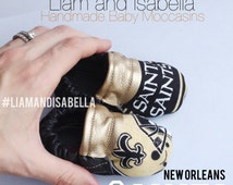 New Orleans Saints Football Handmade Baby Moccasins (child moccasins, Baby Shoes, baby slippers, baby booties, affordable