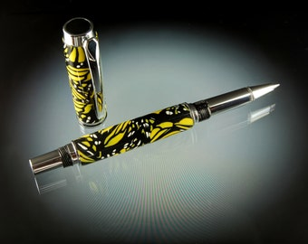 Butterfly Polymer Clay Rollerball Pen or Fountain Pen in Chrome