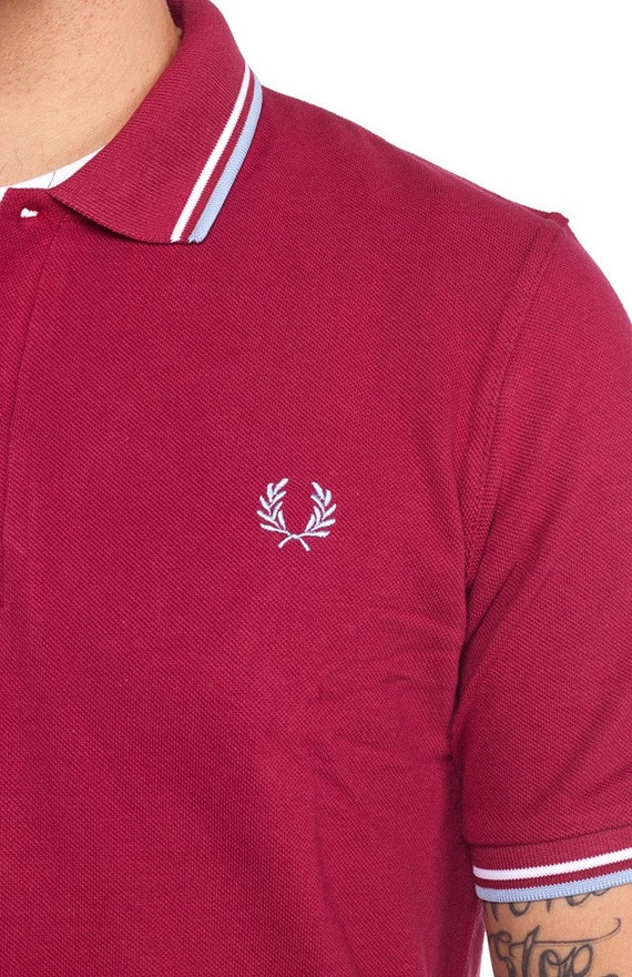 Red Fred Perry Polo Shirt W White Blue Tipping