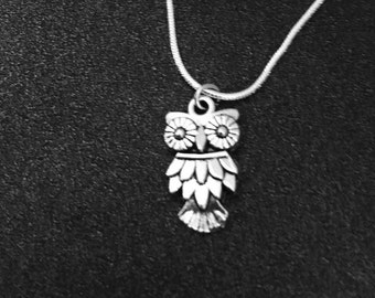 owl necklace, Owl Jewelry, Bird Necklace, Bird