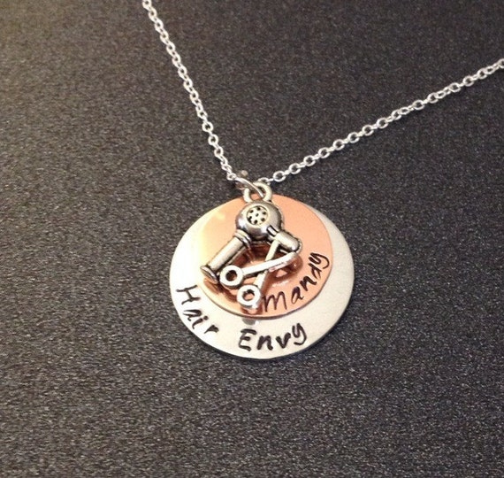 ... Necklace, Hand Stamped Jewelry, Hair Stylist Gift, Hair Dresser