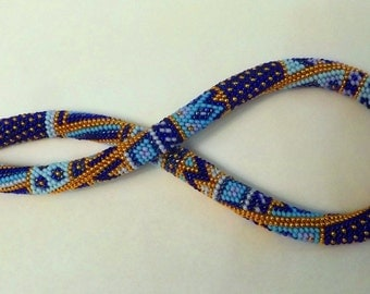 Collier tourniquet  blue patchwork