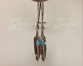 Turquoise accent feather drops