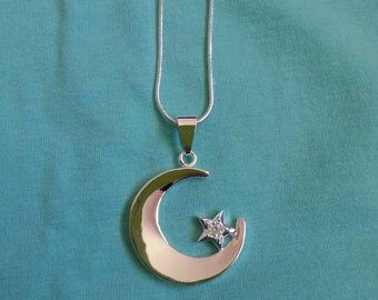 925 silver crescent moon with rhinestone star necklace