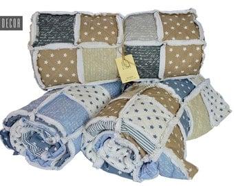 Rag Quilt - Patchwork quilt - Blue