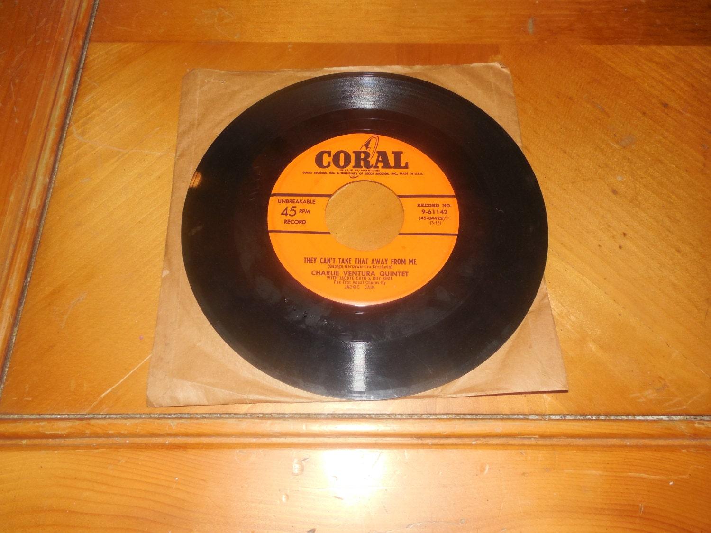 Vintage Vinyl Record 45 Rpm Charlie Ventura By Thevinylstraw